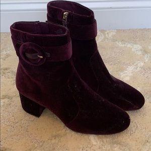 Deep purple velour booties